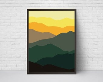 Abstract Wall Art,  Mid Century Mountain Print, Geometrical Modern Art Home Decor Wall Art, Minimalist Poster, Room Decor, Green Yellow