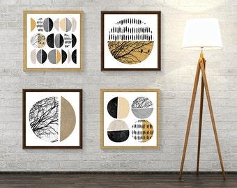 Set of 4 Prints, Print Set, Mustard, Scandinavian Print, Scandinavian, Minimalist Poster, Downloadable Prints, Scandi Art, Minimalist Art