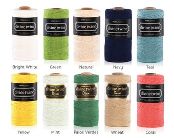 Divine Twine Solid Twine (PER METRE) - Black, White, Lime Green, Mint, Navy, Palos Verdes, Teal, Wheat, Yellow, Grey
