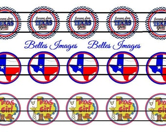 Texas Girl Bottle Cap Images 1 inch Circles