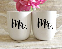 Mr and Mr Coffee Mugs, His and His Mugs, Engagement Gift