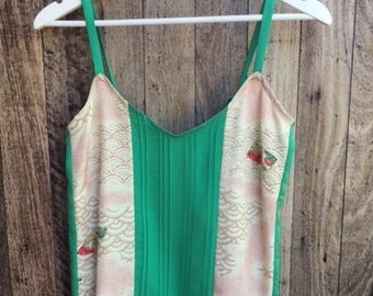 Vintage Japanese Kimono Silk camisole, singlet top with pintucks in green and cream, Size Small