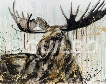 Work Moose on aluminum, Image of the original canvas