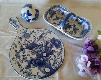 FINAL CLEARANCE!  Blue & White Porcelain Cheese Board, Low Basket and Sphere.  Asian-Inspired Styling.