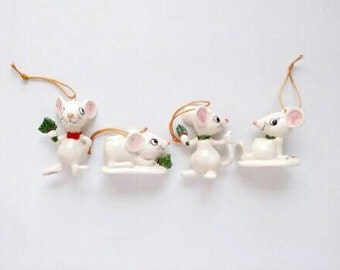 Set of FOUR 1983 Ebeling Reuss Porcelain Mice Christmas Ornaments