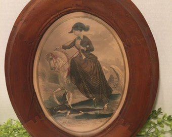 Vintage Hand Colored Etching Equestrian in Oval Wooden Frame