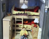 Miniature Dollhouse Bunk Beds Child's Room Bedroom Furniture