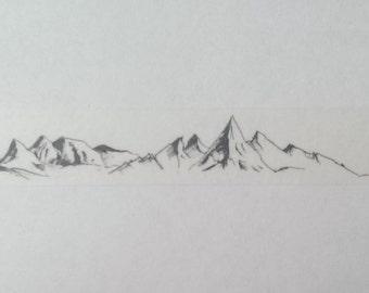 Design Washi tape mountains mountain sketch