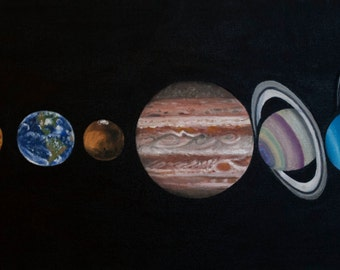 Original Hand Painted Solar System Print