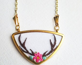 Antler Embroidered Necklace - Hand Embroidered Pendant