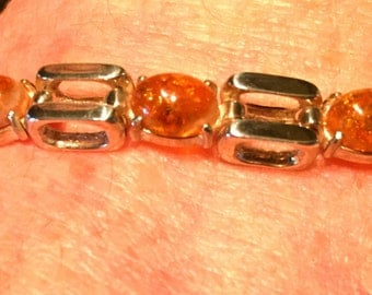 Bracelet with amber 925 STERLING SILVER