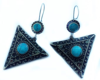 Silver & Turquoise Vintage Earrings - One of a Kind - Made in Nepal