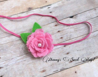 Royal heirloom rose with  leaflets, flower headband, baby photo prop, baby shower gift, birthday gift