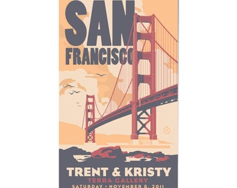 Golden Gate Bridge Wedding Personalized Art Save The Date Magnet (Large, 100 QTY)