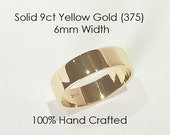 9ct 375 Solid Yellow Gold Ring Wedding Engagement Friendship Friend Flat Band 6mm
