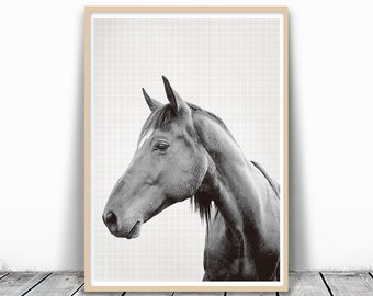Animal Print, Horse Photography, Black and White, Animal Photography, Horse Print, Horse Art, Animal Head Print, Black and White Horse Print