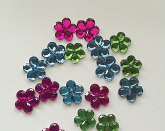Set of 18 Multi Colored Flower Flats, Jesse James Embellishment, Flower Embellishment, Scrapbooking, Card Making