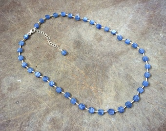 Sterling Silver Natural Rich Blue Kyanite 6MM Flat Square Beaded Necklace