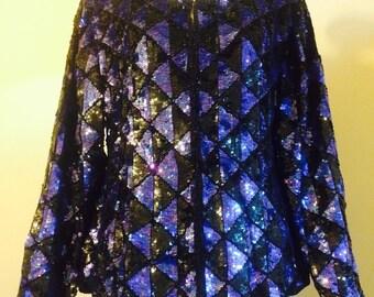 Goegeous Blue/Black Vintage Sequin Jacket