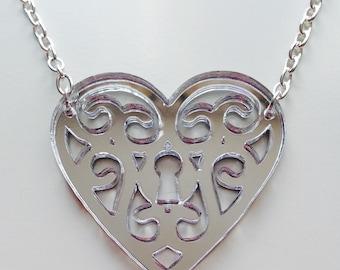 Heart | Love  | Lock | Key | Emo | Silver | Mirror | Laser Cut | Acrylic | Necklace