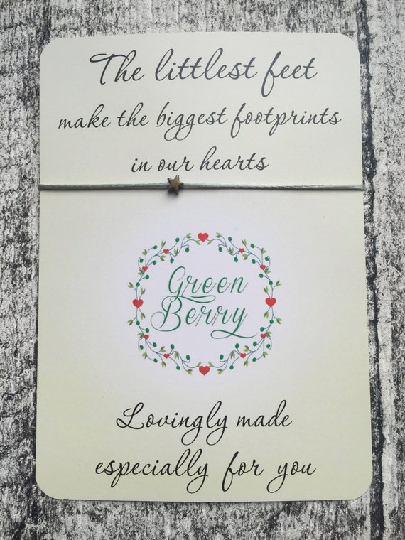 "Bronze Star String Bracelet on ""The Littlest Feet make the biggest footprints in our hearts"" card madebygreenberry wish bracelet"