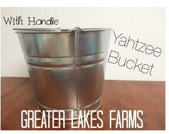 Yard Yahtzee Galvenized Metal Bucket