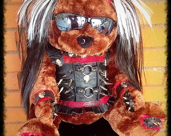 Leather Punk Skull Princess  Spiked n Studded  XL Teddy Bear - Genuine handmade leather outfit