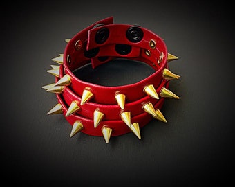 Genuine Leather Spiked Bracelet with Gold Spikes!  SUPER SOFT LEATHER