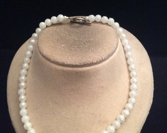 Vintage White Beaded Toggle Necklace
