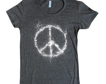 Women's Peace Sign on American Apparel t shirt in ink splatter 16 colors available sizes S M L XL 3 ink colors