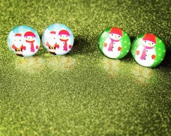 Christmas Glass Dome Earrings - Santa Earrings -Snowman Earrings - Santa and Snowman Earrings