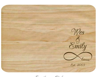 Traditional Infinity with Names Date Cutting Board