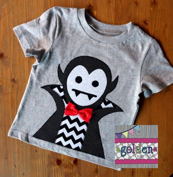 Halloween Large Dracula Vampire with Bow Tie Boy Tee, Boy Shirt, Onesie