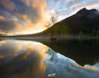 Luminary Sonata, Rattlesnake Lake, Washington, lake, mountains, wall art, sunset, pacific northwest