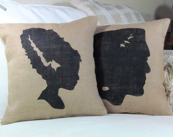 Halloween Pillow, Frankenstein Pillow, Bride of Frankenstein, Burlap Pillow, Halloween Decor, Fall Decor, Frankenstein Monster Pillow