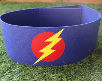 Blue Superhero Belt, boys superhero costume, lightning bolt super hero costume, halloween costume, felt belt, kids belt, hero costume, belt