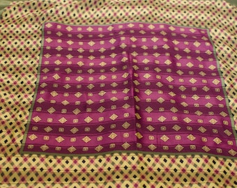 "Royal purple and olive green silk scarf 23"" square"