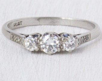 Ines Three Stone Diamond Vintage Engagement Ring