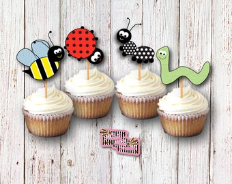 Bug Cupcake Toppers, Bug Party, Insect Party, Creepy Crawlers, Picnic Birthday, Birthday Party, Cake Decoration, Cupcake Picks, Food Picks