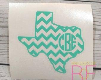 Chevron Texas Monogram Glossy Decal Sticker