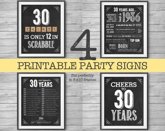 30th Birthday Printable Party Decor 4 Unique 8x10 Signs By