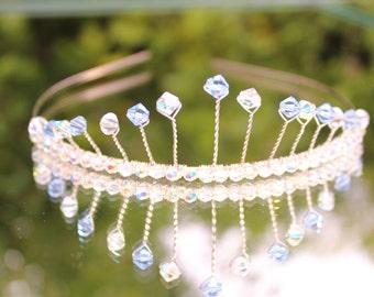 wedding tiara, Crystal tiara, blue tiara, bridal tiara, silver tiara, prom tiara, crown, crystal crown