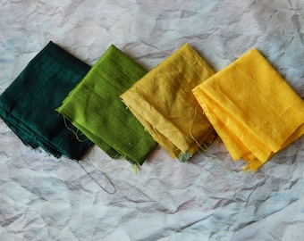 Fat Quarter Bundle of Silk Fabric, Dupioni Silk Fabric, Pure Silk Fabric, Ethnic Fabric- 4 pcs