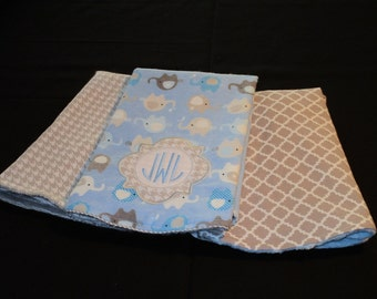 Boy Elephant Burp Cloths Personalized Burp Cloths
