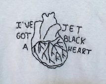5SOS Embroidered Jet Black Heart T-Shirt