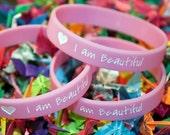 "ON SALE Two ""I am Beautiful"" Silicone Bracelets"