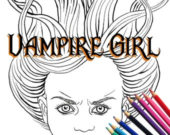 Vampire Girl Adult Coloring Page and Digital Stamp