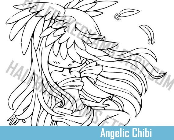 Angelic Chibi  - Clip Art - Digital Stamp