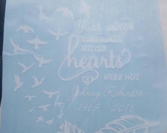 Memorial decal. In memory car decal. Wings car decal. Angel wings were ready. Feather decals