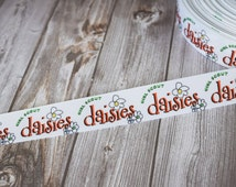 """Daisies ribbon - Girl scout ribbon - Girl scout crafts - Girl scout cookies - Bridging ceremony - 7/8"""" ribbon. 3 or 5 yard lot"""